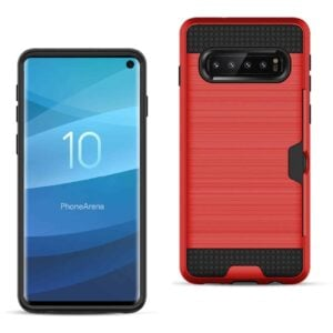 SAMSUNG GALAXY S10 Slim Armor Hybrid Case With Card Holder In Red