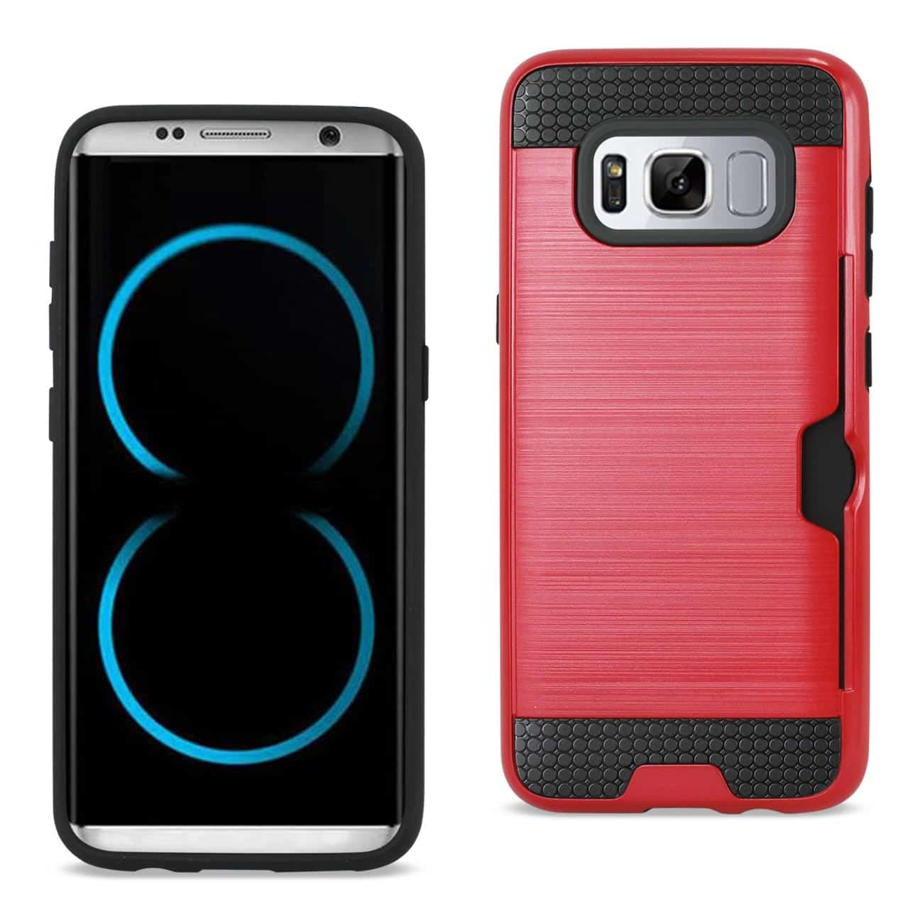 SAMSUNG GALAXY S8/ SM SLIM ARMOR HYBRID CASE WITH CARD HOLDER IN RED