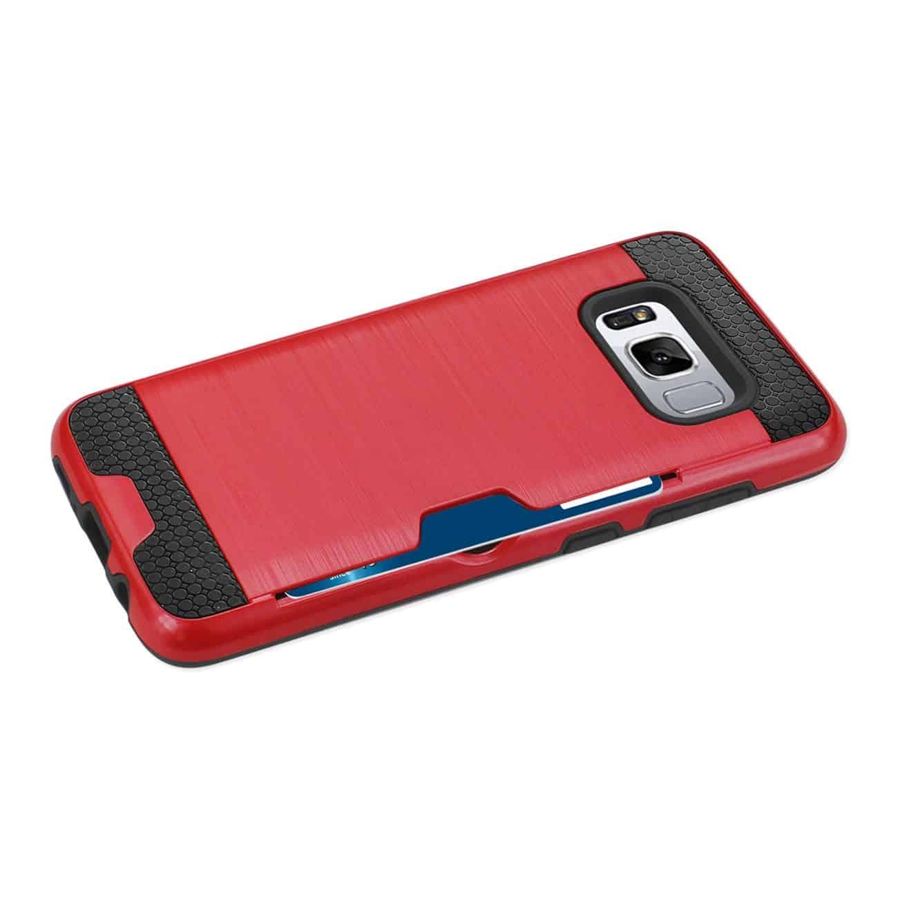 SAMSUNG GALAXY S8/ SM SLIM ARMOR HYBRID CASE WITH CARD HOLDER IN RED