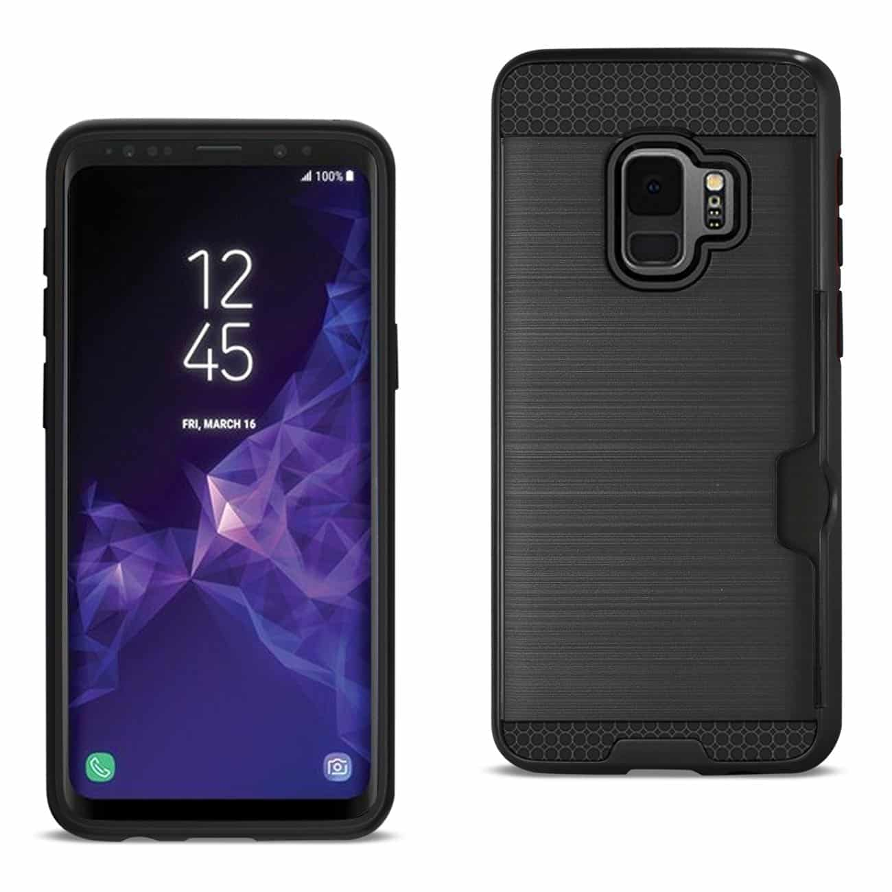 Samsung Galaxy S9 Slim Armor Hybrid Case With Card Holder In Black