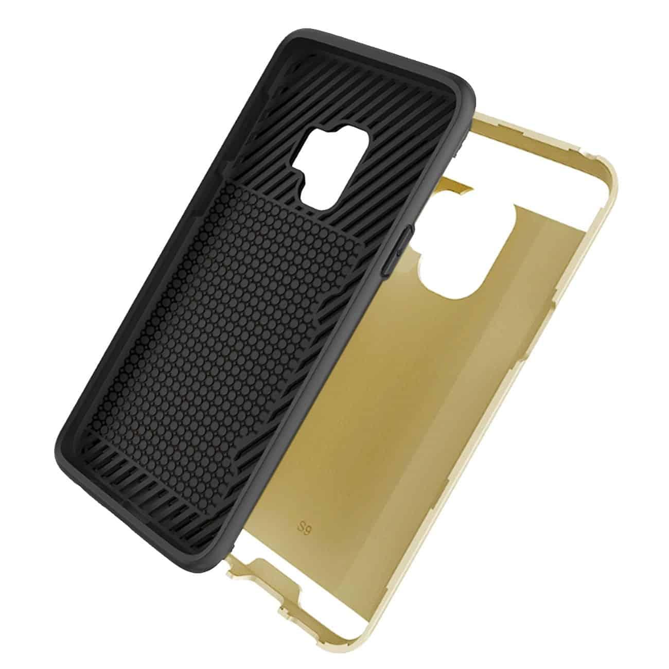 Samsung Galaxy S9 Slim Armor Hybrid Case With Card Holder In Gold