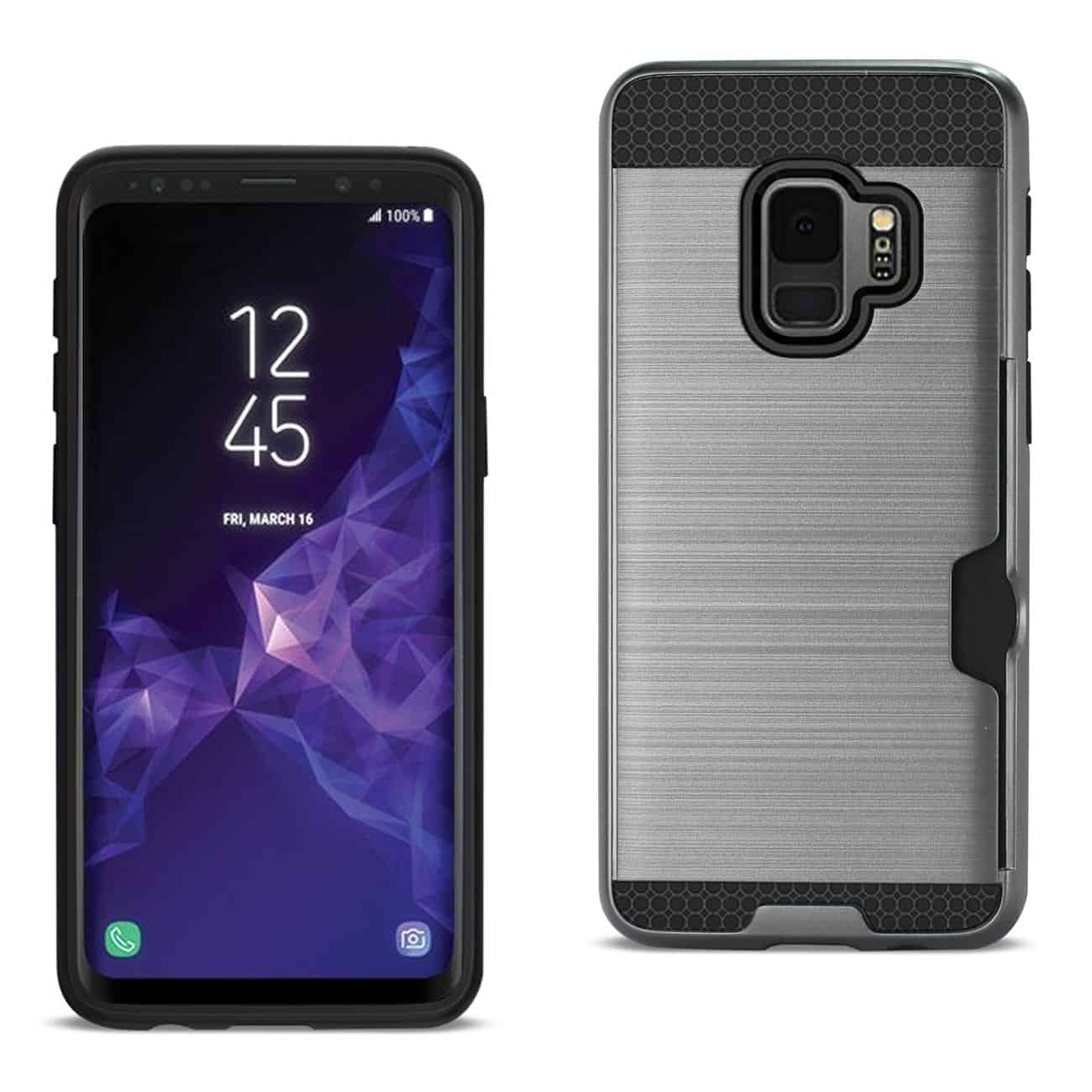 Samsung Galaxy S9 Slim Armor Hybrid Case With Card Holder In Gray