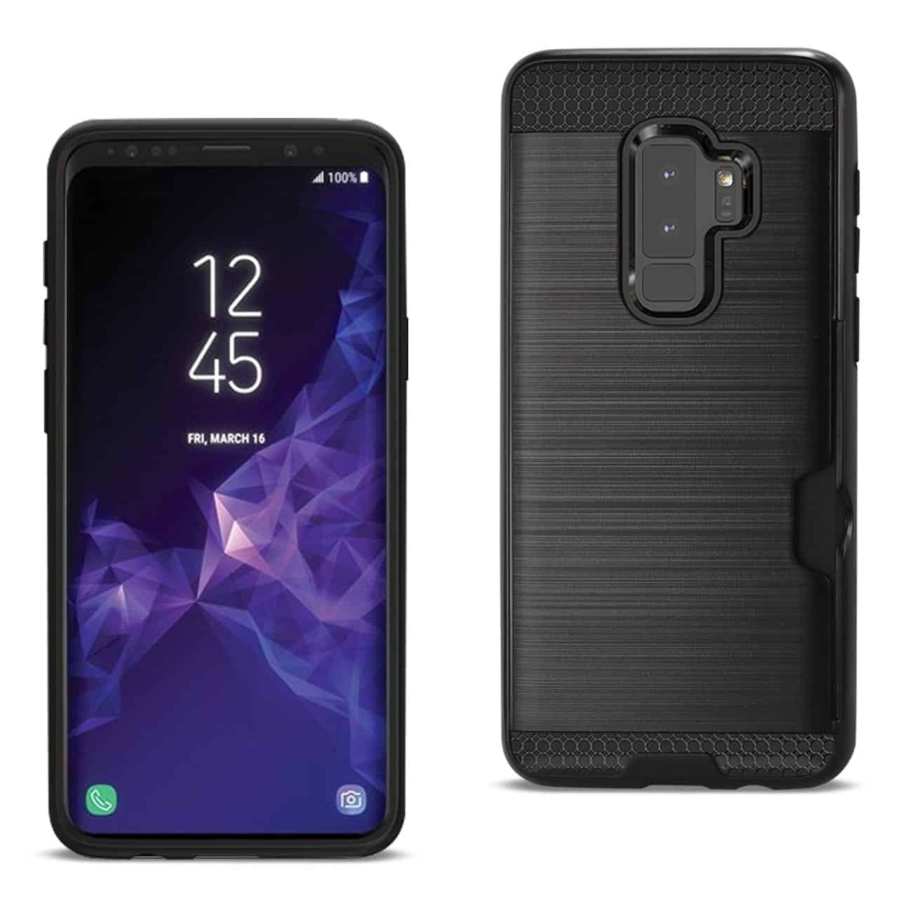 Samsung Galaxy S9 Plus Slim Armor Hybrid Case With Card Holder In Black