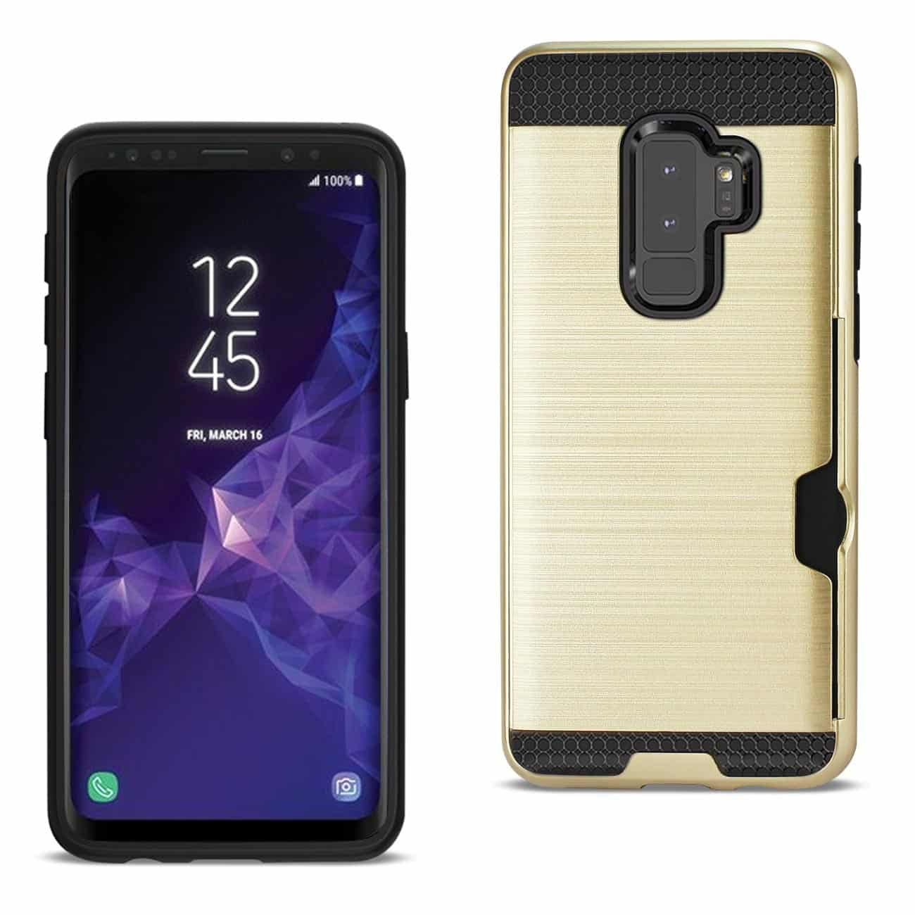Samsung Galaxy S9 Plus Slim Armor Hybrid Case With Card Holder In Gold