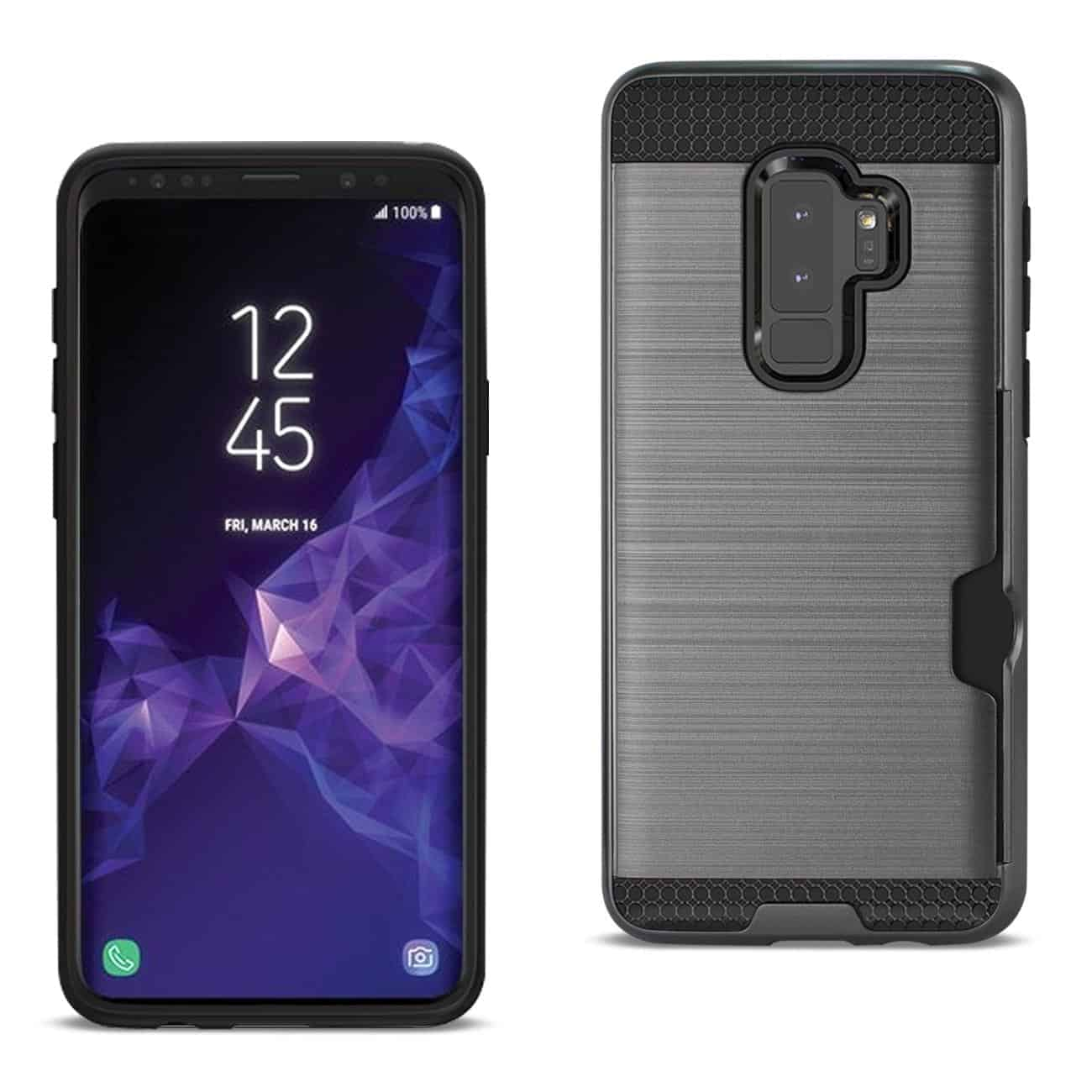 Samsung Galaxy S9 Plus Slim Armor Hybrid Case With Card Holder In Gray