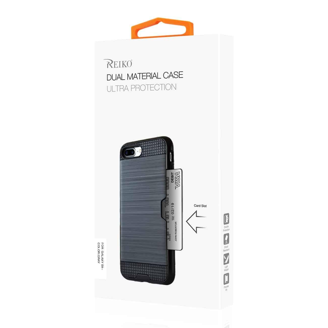 Samsung Galaxy S9 Plus Slim Armor Hybrid Case With Card Holder In Gray