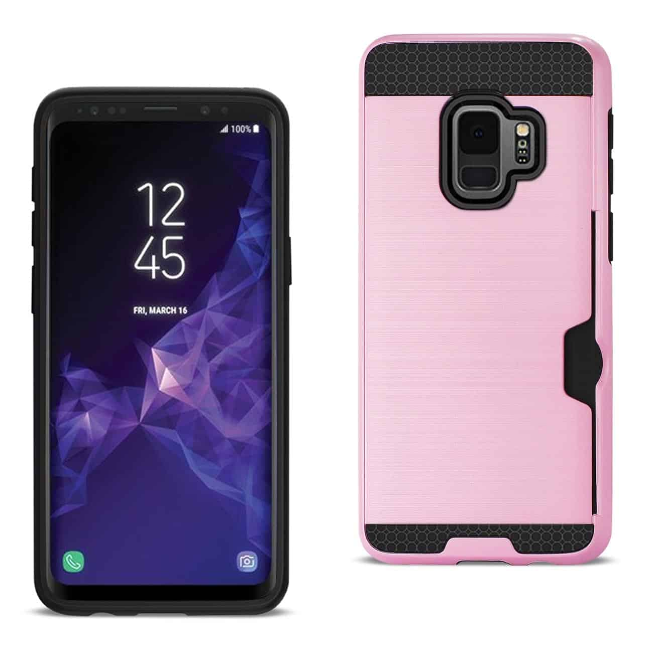 Samsung Galaxy S9 Slim Armor Hybrid Case With Card Holder In Pink