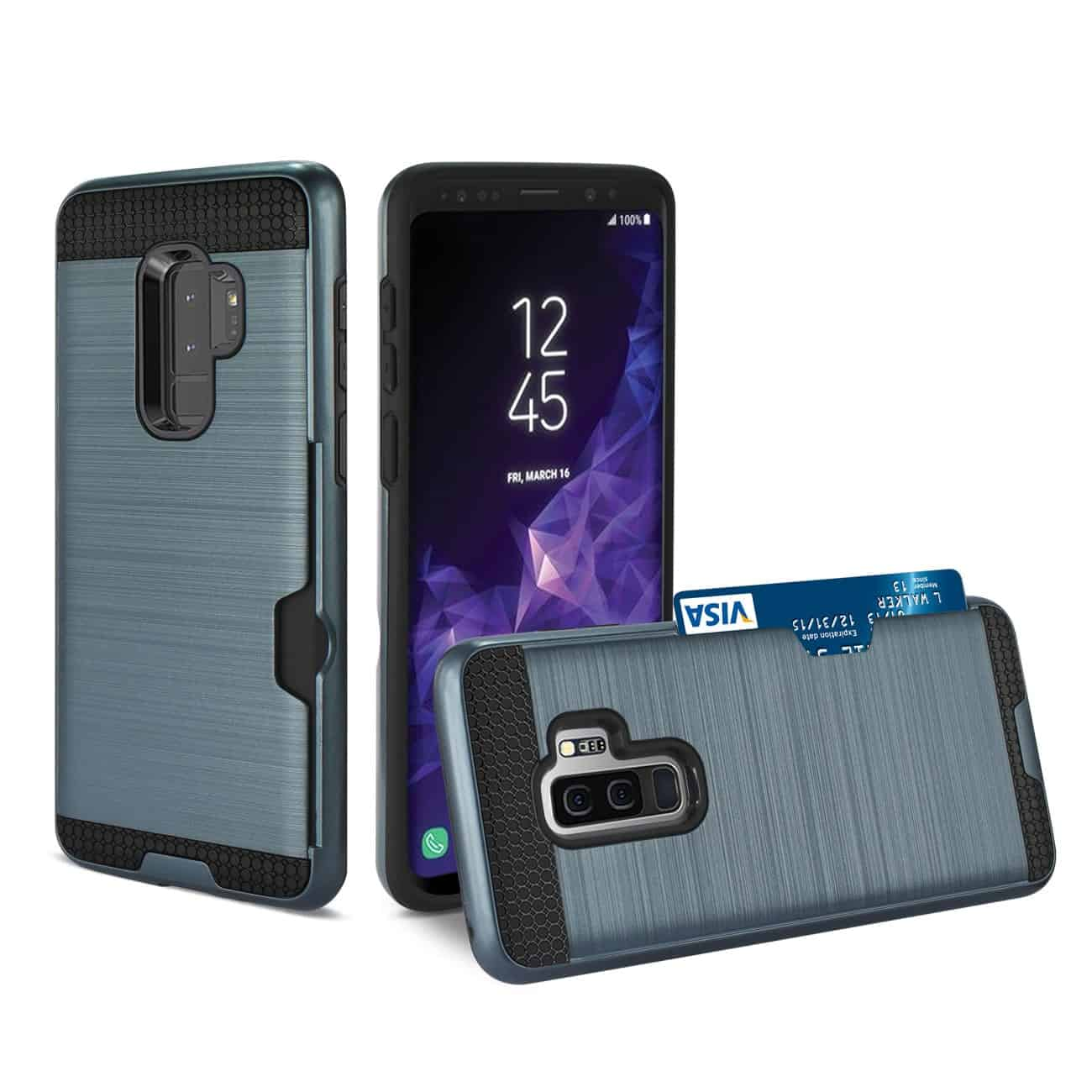 Samsung Galaxy S9 Plus Slim Armor Hybrid Case With Card Holder In Navy
