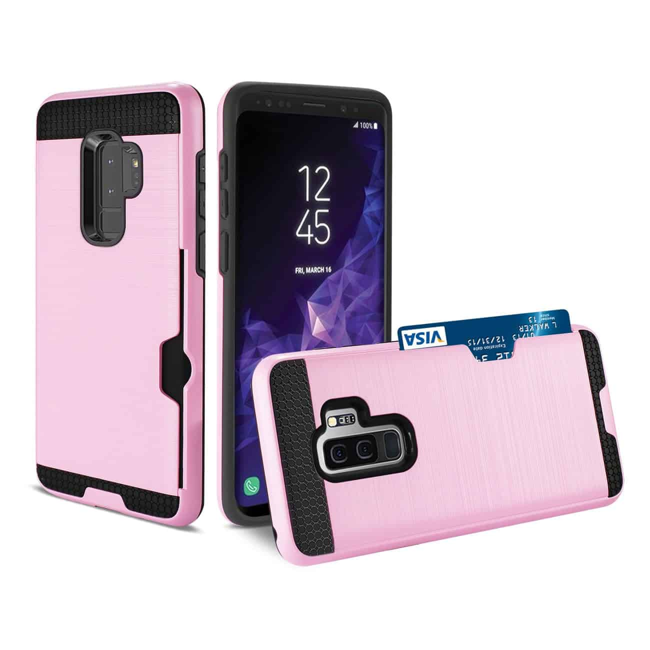 Samsung Galaxy S9 Plus Slim Armor Hybrid Case With Card Holder In Pink