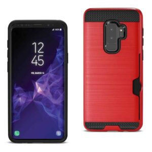 Samsung Galaxy S9 Plus Slim Armor Hybrid Case With Card Holder In Red