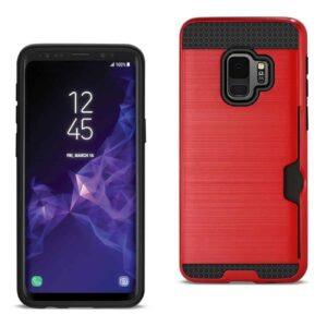 Samsung Galaxy S9 Slim Armor Hybrid Case With Card Holder In Red