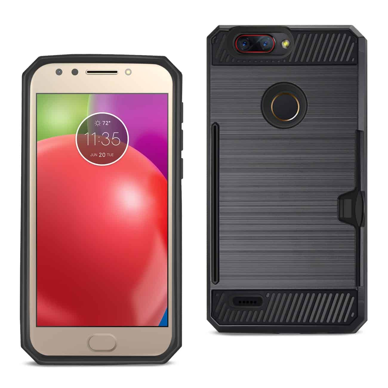 Zte Blade Z Max/Z982/Zte Sequoia Slim Armor Hybrid Case With Card Holder In Black