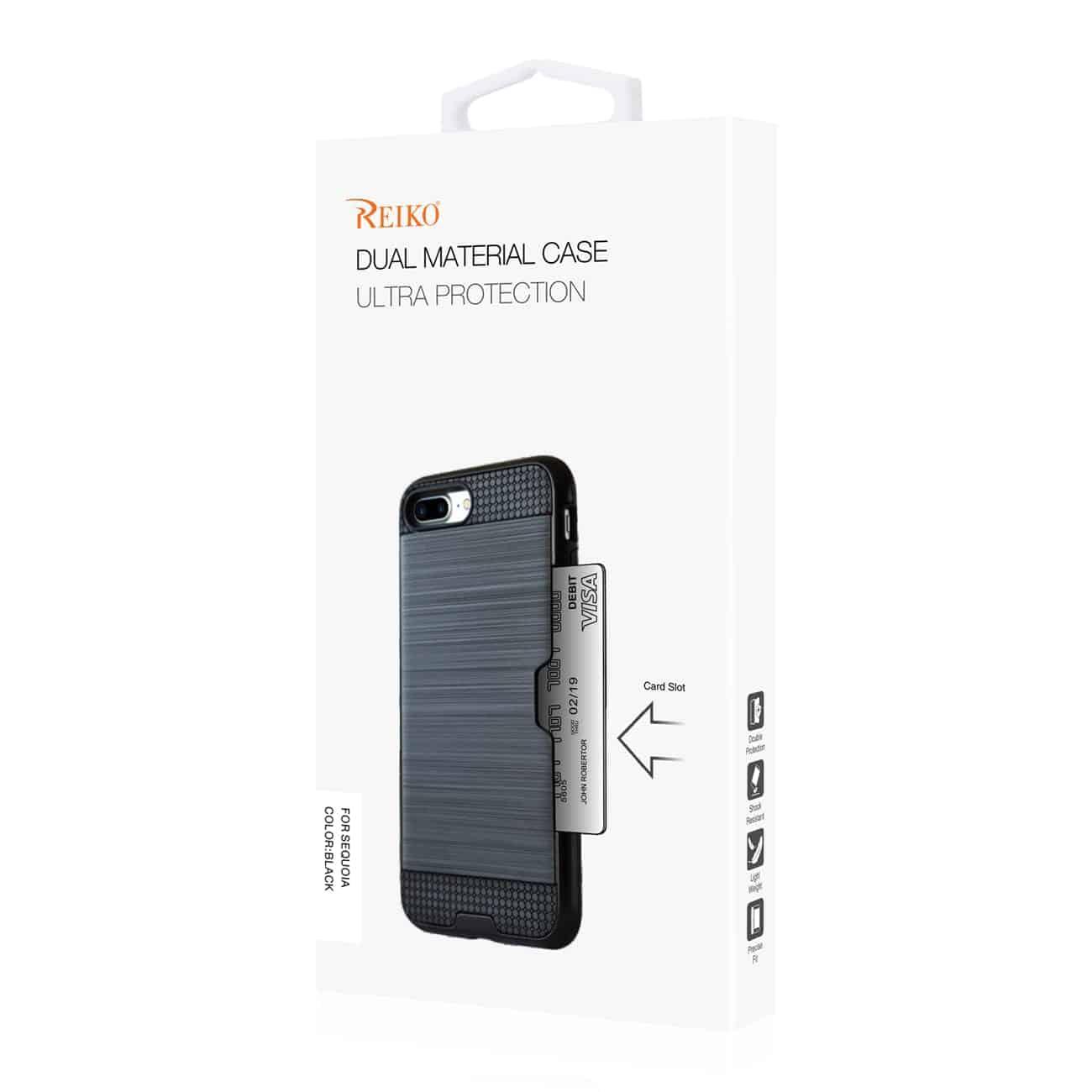 Zte Blade Z Max/Z982/Zte Sequoia Slim Armor Hybrid Case With Card Holder In Black
