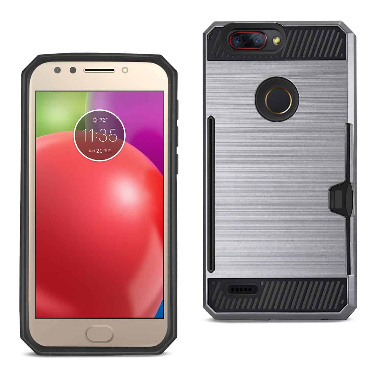 Zte Blade Z Max/Z982/Zte Sequoia Slim Armor Hybrid Case With Card Holder In Gray