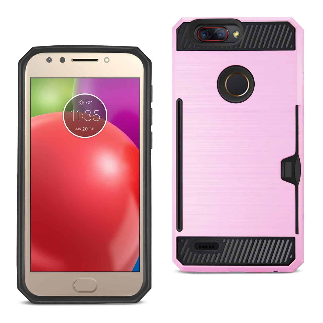 Zte Blade Z Max/Z982/Zte Sequoia Slim Armor Hybrid Case With Card Holder In Pink