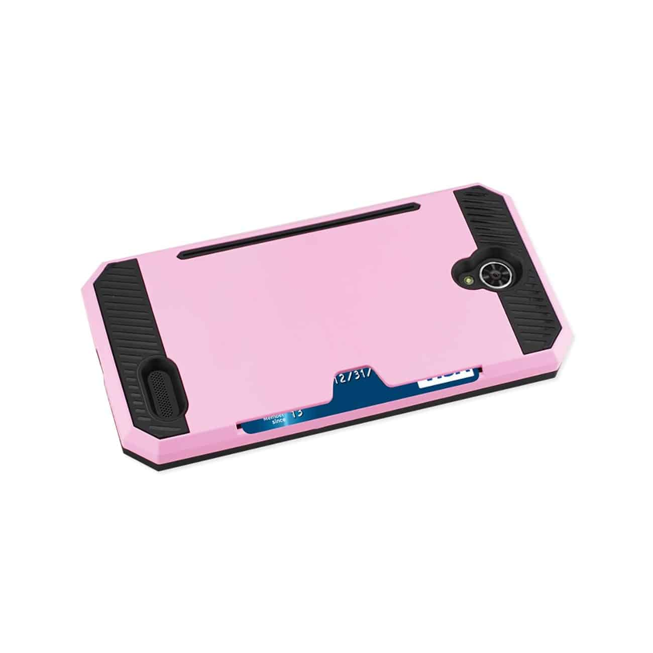 ZTE WARP 7/ Z959 SLIM ARMOR HYBRID CASE WITH CARD HOLDER IN PINK