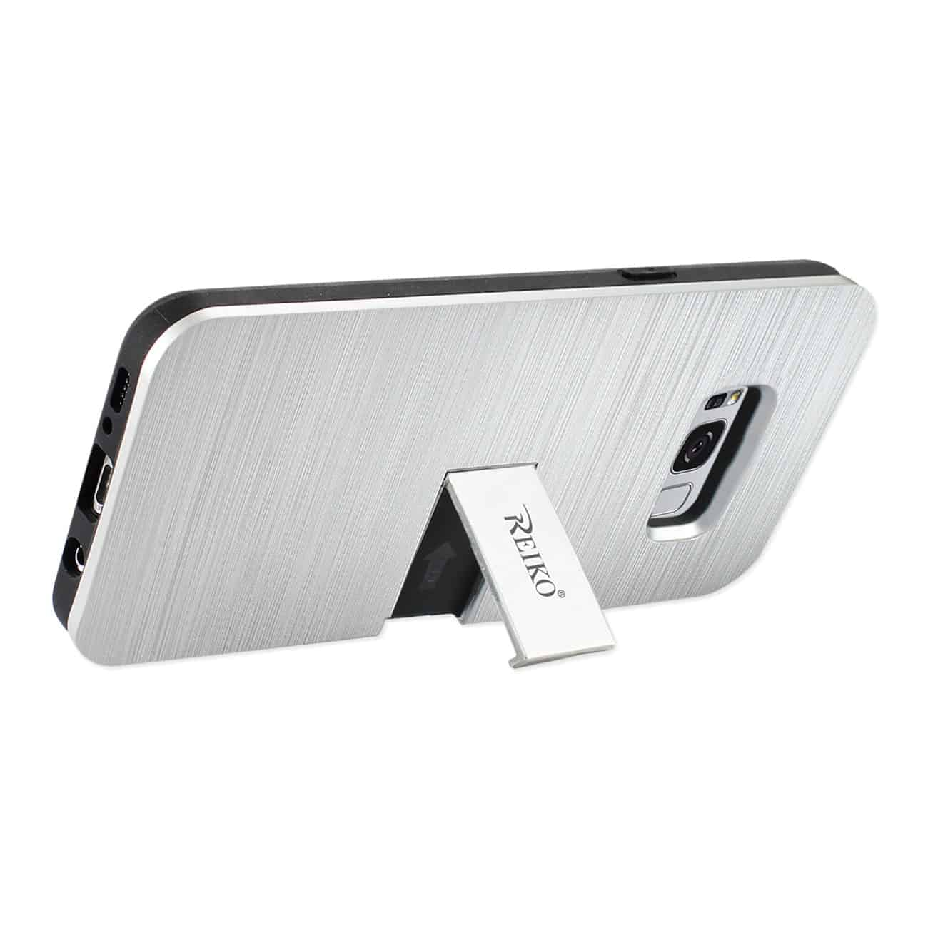 SAMSUNG S8 EDGE/ S8 PLUS SLIM ARMOR HYBRID CASE WITH CARD HOLDER AND KICKSTAND IN SILVER