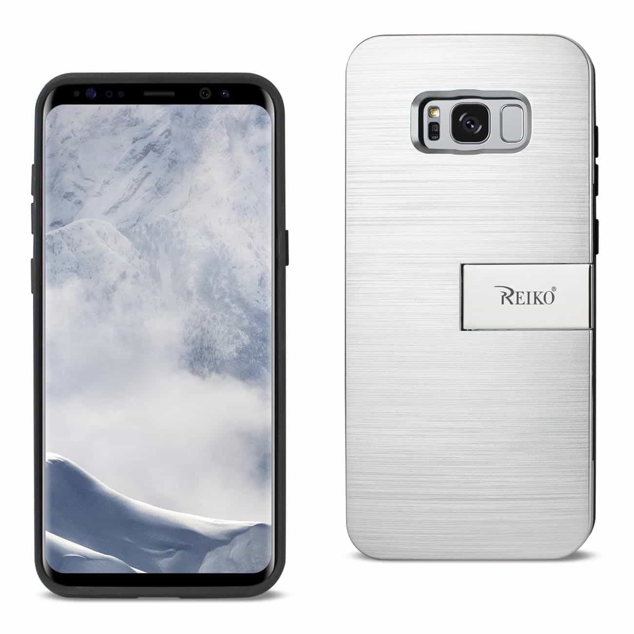 SAMSUNG GALAXY S8 SLIM ARMOR HYBRID CASE WITH CARD HOLDER AND KICKSTAND IN SILVER