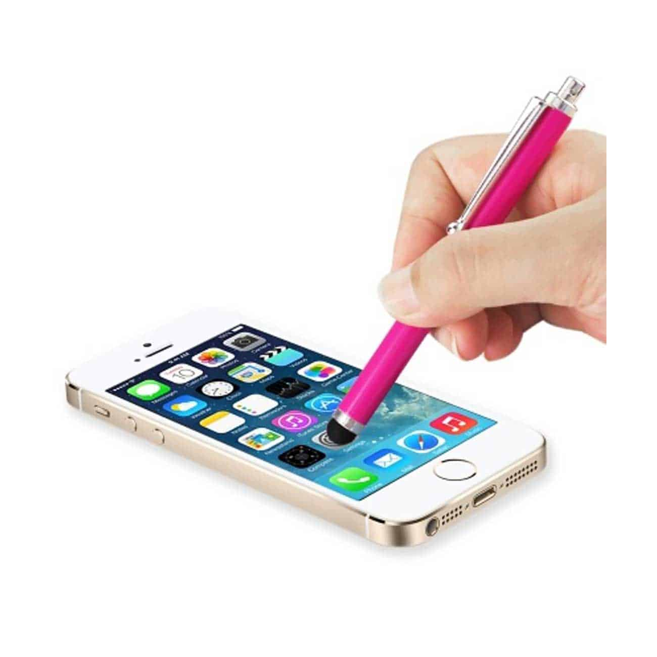 MINI STYLUS TOUCH SCREEN PEN WITH CLIP IN HOT PINK