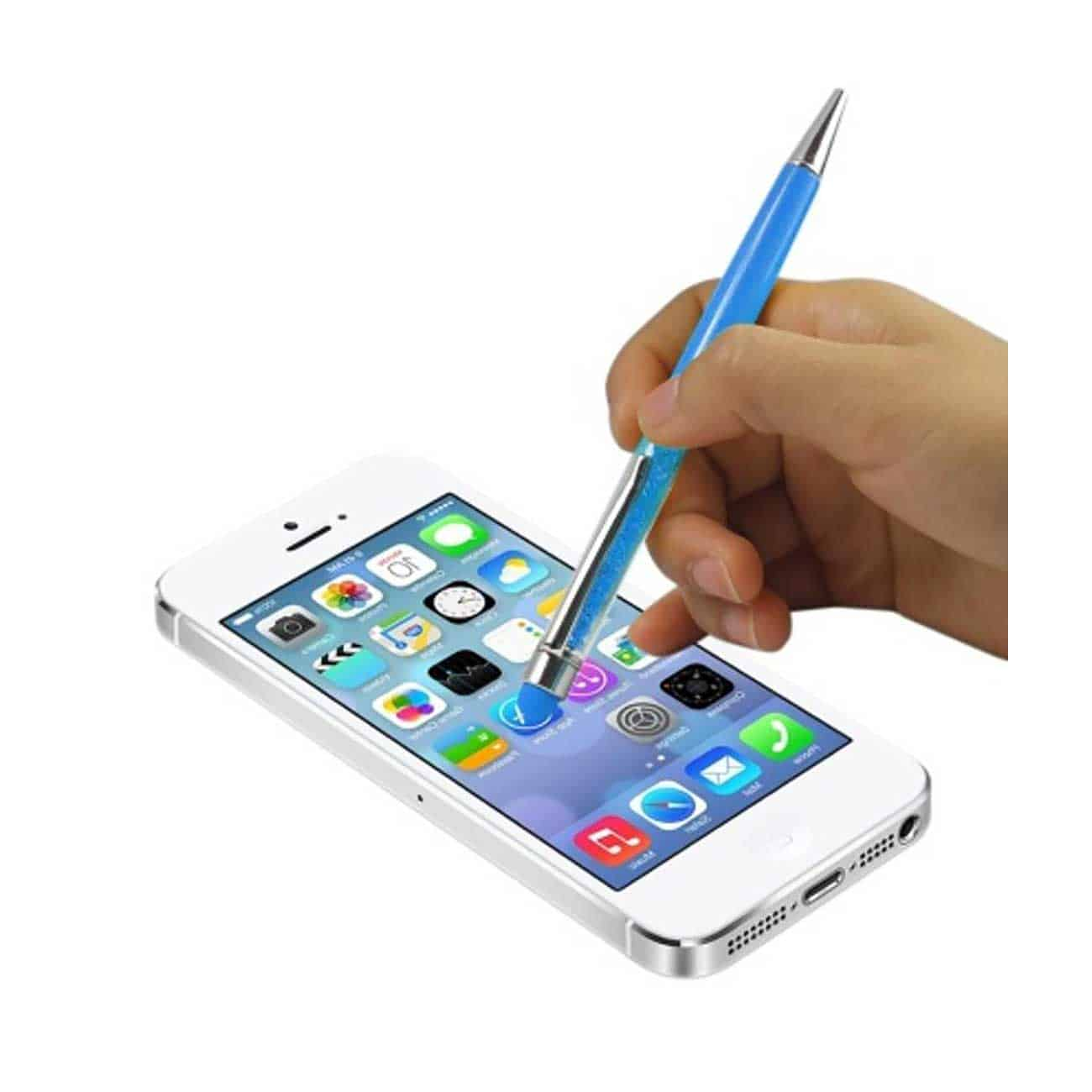 CRYSTAL STYLUS TOUCH SCREEN WITH INK PEN IN BLUE