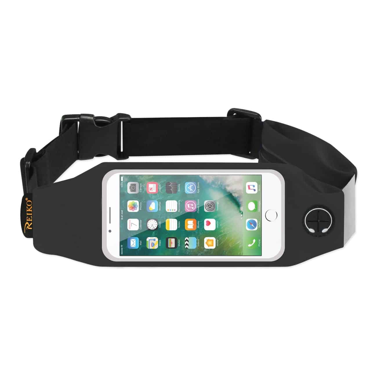 RUNNING SPORT BELT FOR IPHONE 7/ 6/ 6S OR 5 INCHES DEVICE WITH TWO POCKETS IN BLACK (5x5 INCHES)