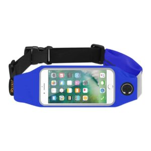 RUNNING SPORT BELT FOR IPHONE 7/ 6/ 6S OR 5 INCHES DEVICE WITH TWO POCKETS IN BLUE (5x5 INCHES)
