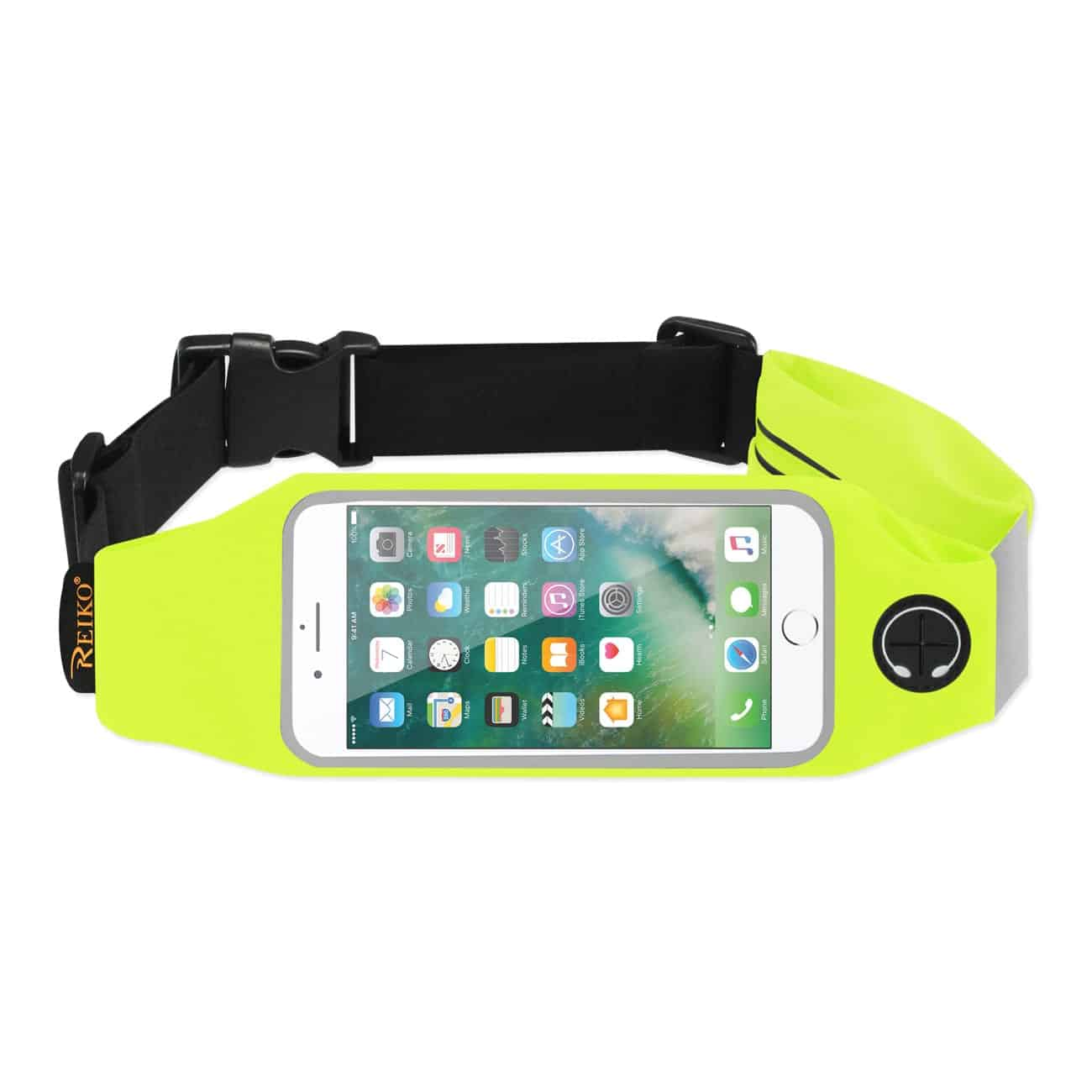 RUNNING SPORT BELT FOR IPHONE 7/ 6/ 6S OR 5 INCHES DEVICE WITH TWO POCKETS IN GREEN (5x5 INCHES)