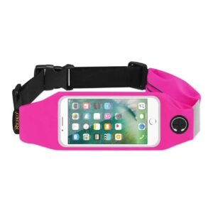 RUNNING SPORT BELT FOR IPHONE 7/ 6/ 6S OR 5 INCHES DEVICE WITH TWO POCKETS IN PINK (5x5 INCHES)