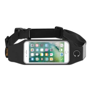 RUNNING SPORT BELT FOR IPHONE 7 PLUS/ 6S PLUS OR 5.5 INCHES DEVICE WITH TWO POCKETS IN BLACK (5.5x5.5 INCHES)