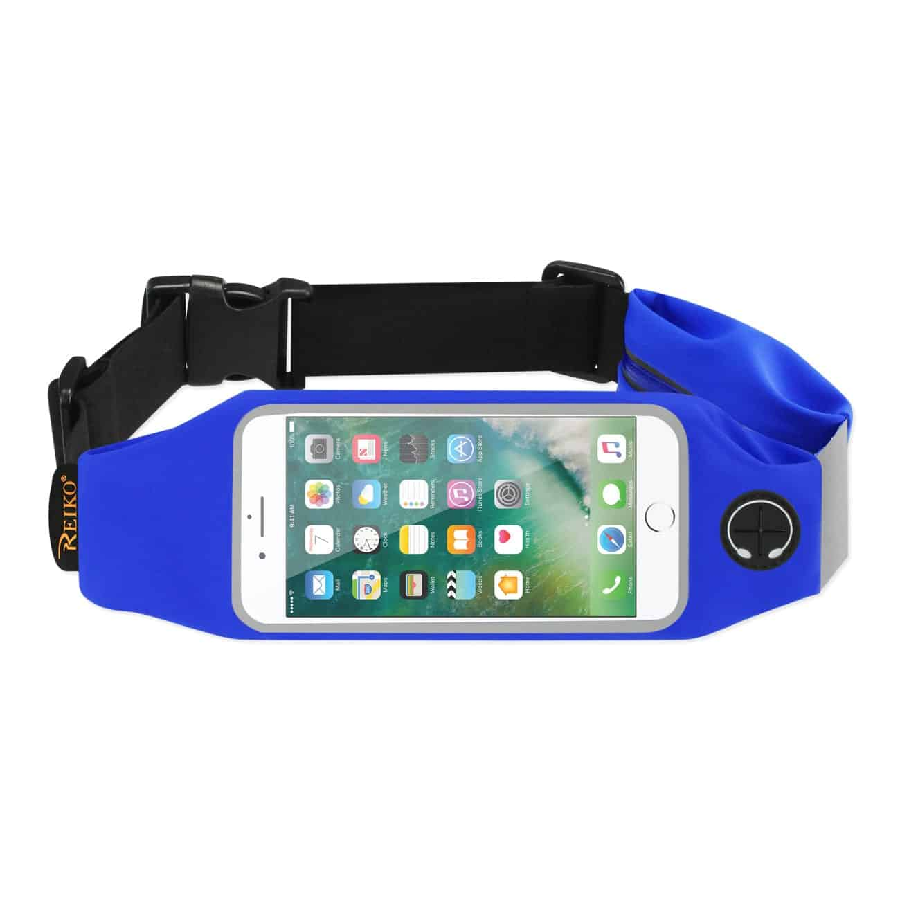 RUNNING SPORT BELT FOR IPHONE 7 PLUS/ 6S PLUS OR 5.5 INCHES DEVICE WITH TWO POCKETS IN BLUE (5.5x5.5 INCHES)