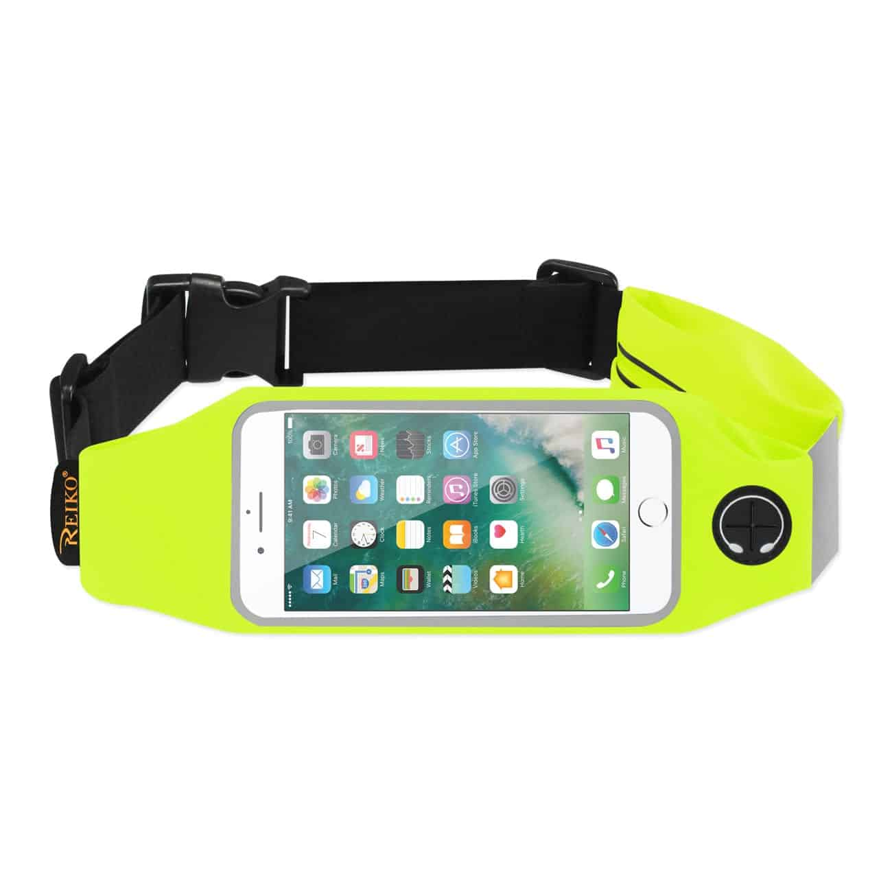 RUNNING SPORT BELT FOR IPHONE 7 PLUS/ 6S PLUS OR 5.5 INCHES DEVICE WITH TWO POCKETS IN GREEN (5.5x5.5 INCHES)