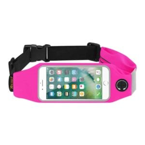 RUNNING SPORT BELT FOR IPHONE 7 PLUS/ 6S PLUS OR 5.5 INCHES DEVICE WITH TWO POCKETS IN PINK (5.5x5.5 INCHES)