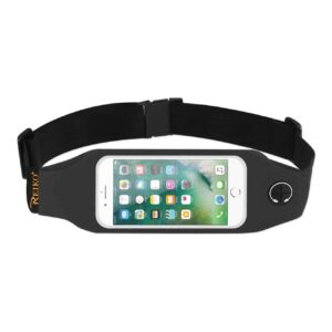 RUNNING SPORT BELT FOR IPHONE 7/ 6/ 6S OR 5 INCHES DEVICE WITH TWO POCKETS AND LED IN BLACK (5x5 INCHES)