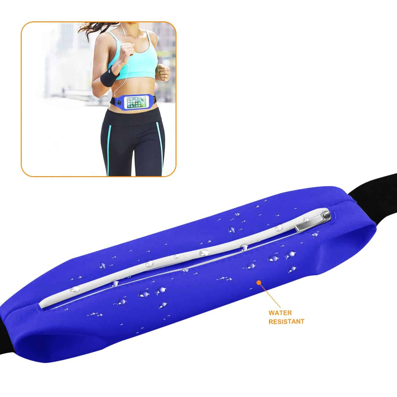 RUNNING SPORT BELT FOR IPHONE 7/ 6/ 6S OR 5 INCHES DEVICE WITH TWO POCKETS AND LED IN BLUE (5x5 INCHES)