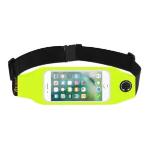 RUNNING SPORT BELT FOR IPHONE 7/ 6/ 6S OR 5 INCHES DEVICE WITH TWO POCKETS AND LED IN GREEN (5x5 INCHES)