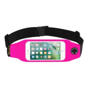 RUNNING SPORT BELT FOR IPHONE 7/ 6/ 6S OR 5 INCHES DEVICE WITH TWO POCKETS AND LED IN PINK (5x5 INCHES)