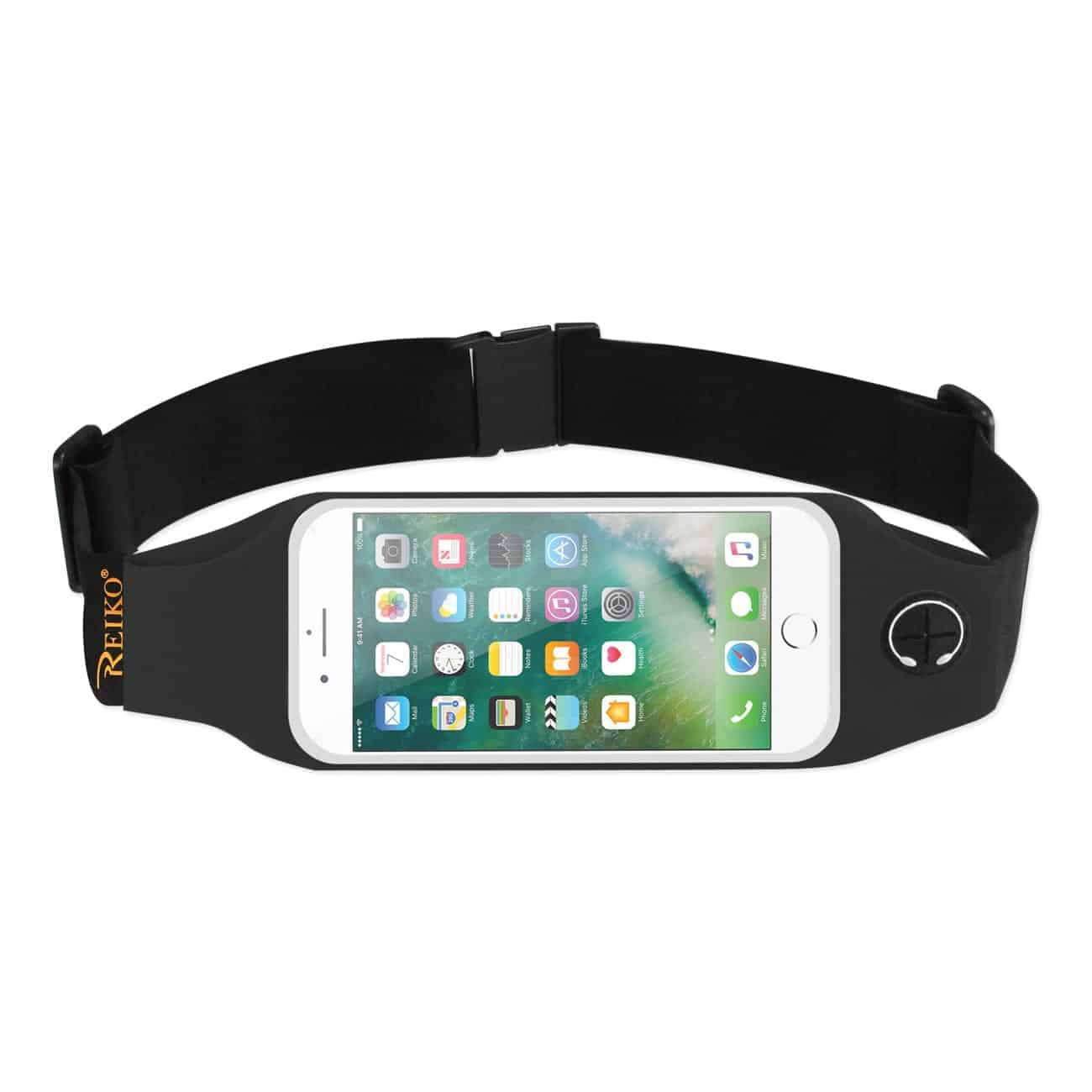 RUNNING SPORT BELT FOR IPHONE 7 PLUS/ 6S PLUS OR 5.5 INCHES DEVICE WITH TWO POCKETS AND LED IN BLACK (5.5x5.5 INCHES)