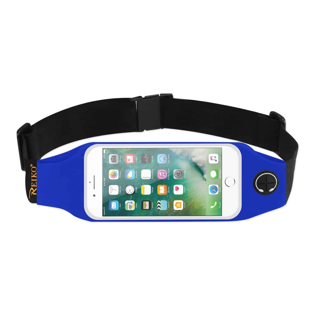 RUNNING SPORT BELT FOR IPHONE 7 PLUS/ 6S PLUS OR 5.5 INCHES DEVICE WITH TWO POCKETS AND LED IN BLUE (5.5x5.5 INCHES)