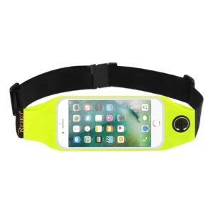 RUNNING SPORT BELT FOR IPHONE 7 PLUS/ 6S PLUS OR 5.5 INCHES DEVICE WITH TWO POCKETS AND LED IN GREEN (5.5x5.5 INCHES)