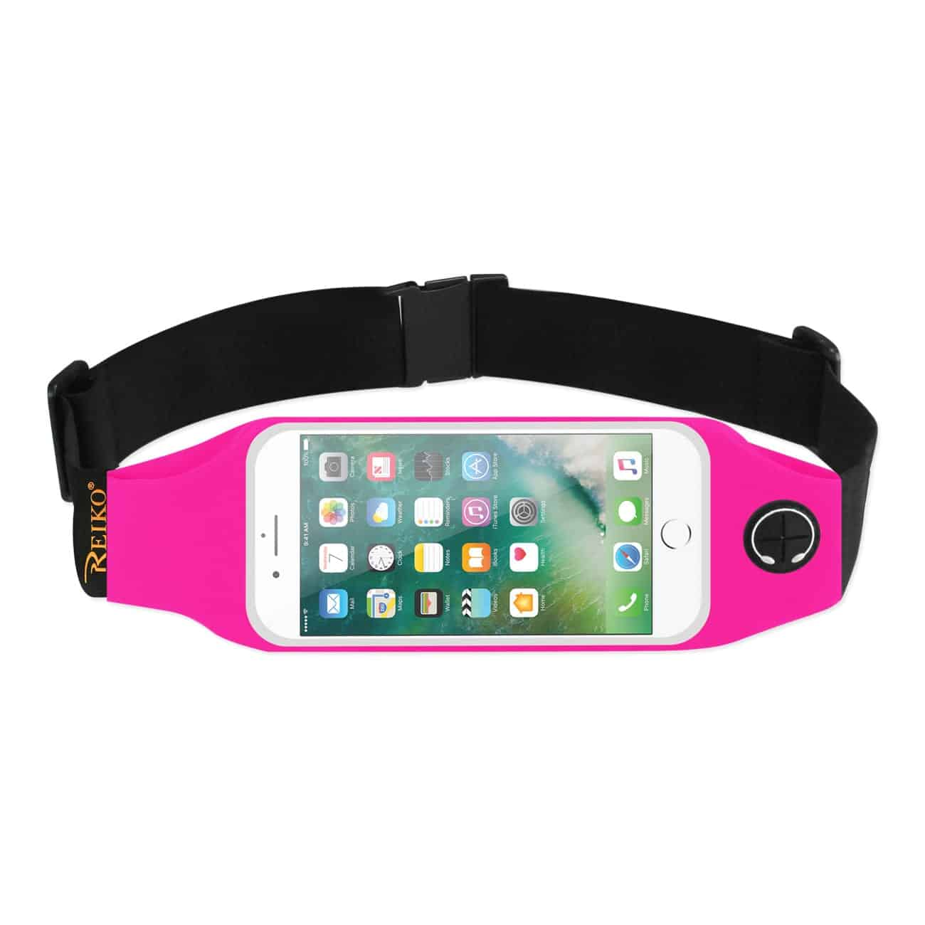 RUNNING SPORT BELT FOR IPHONE 7 PLUS/ 6S PLUS OR 5.5 INCHES DEVICE WITH TWO POCKETS AND LED IN PINK (5.5x5.5 INCHES)