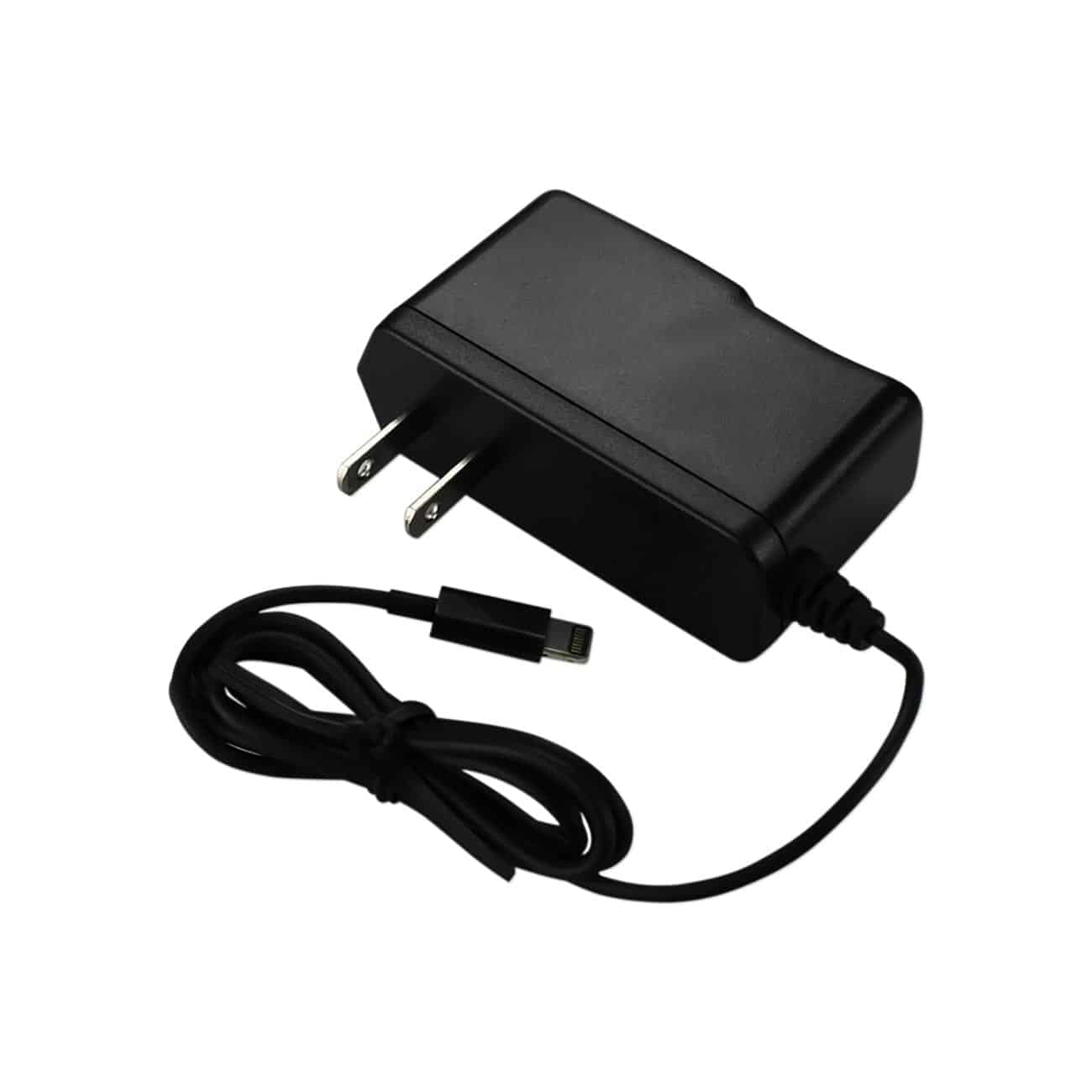 IPHONE SE/ 5S/ 5 PORTABLE USB TRAVEL ADAPTER CHARGER WITH BUILT IN CABLE IN BLACK