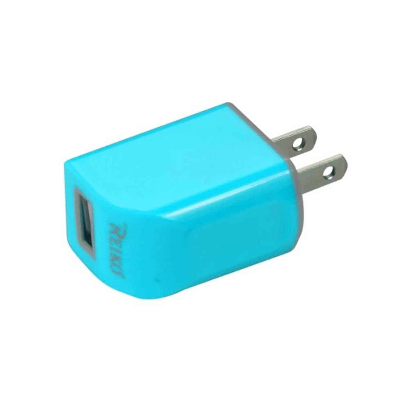 MICRO USB 1 AMP PORTABLE MICRO TRAVEL ADAPTER CHARGER WITH CABLE IN BLUE
