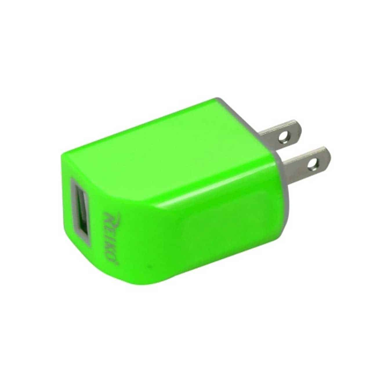 MICRO USB 1 AMP PORTABLE MICRO TRAVEL ADAPTER CHARGER WITH CABLE IN GREEN