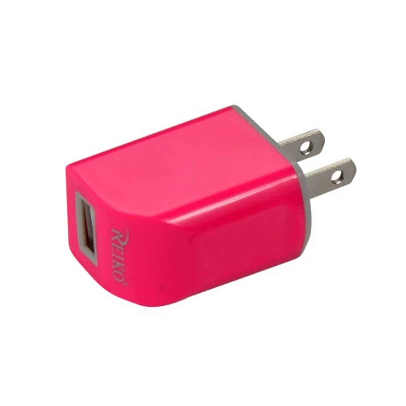 MICRO USB 1 AMP PORTABLE MICRO TRAVEL ADAPTER CHARGER WITH CABLE IN HOT PINK