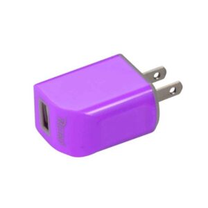 MICRO USB 1 AMP PORTABLE MICRO TRAVEL ADAPTER CHARGER WITH CABLE IN PURPLE