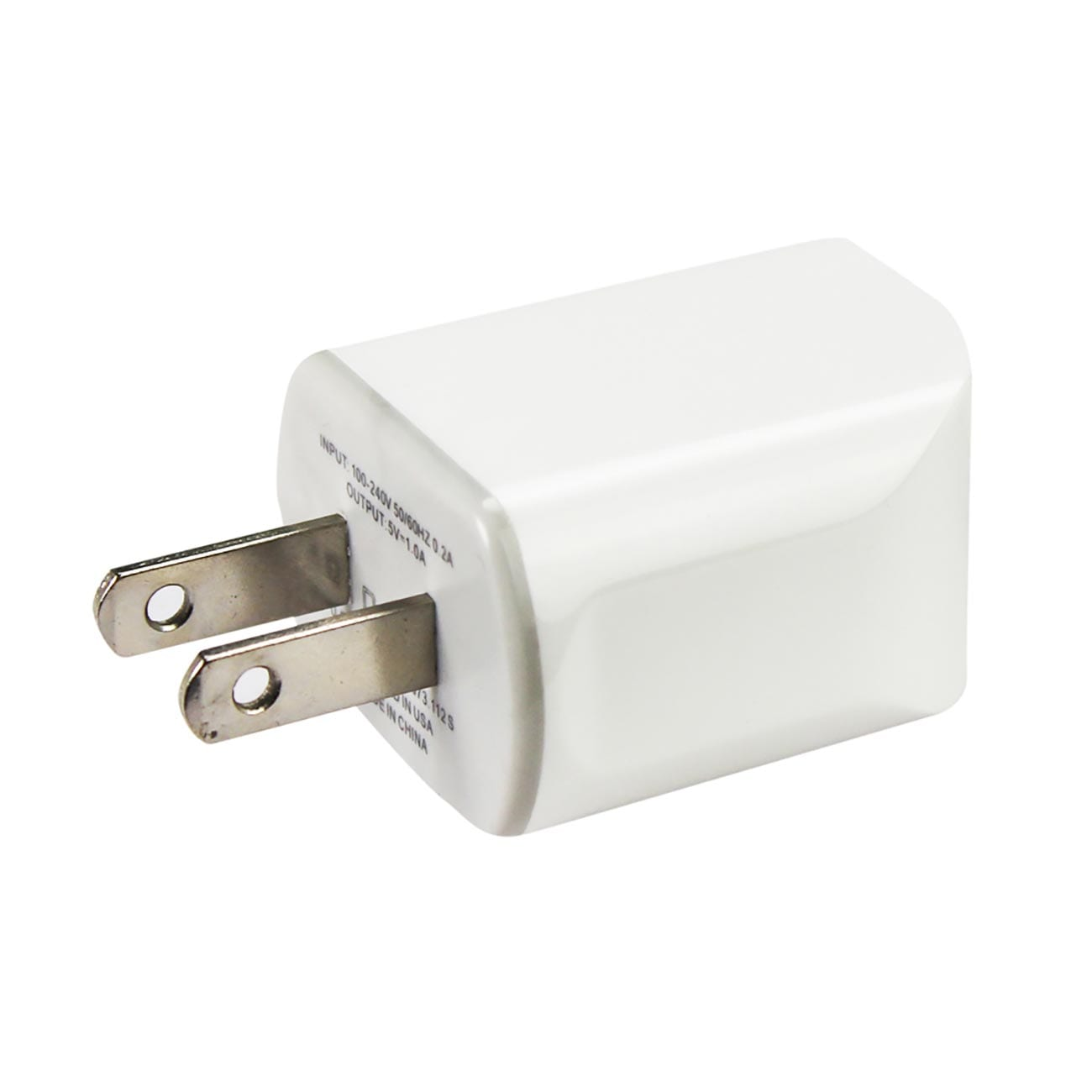 MICRO USB 1 AMP PORTABLE MICRO TRAVEL ADAPTER CHARGER WITH CABLE IN WHITE