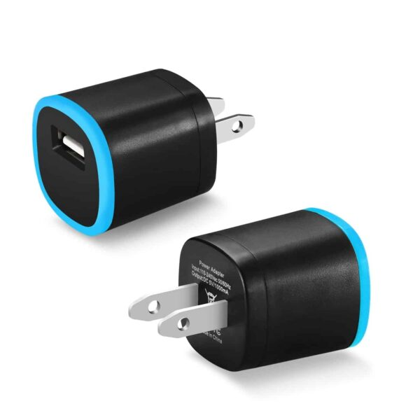 1 AMP DUAL COLOR PORTABLE USB TRAVEL ADAPTER CHARGER IN BLUE BLACK