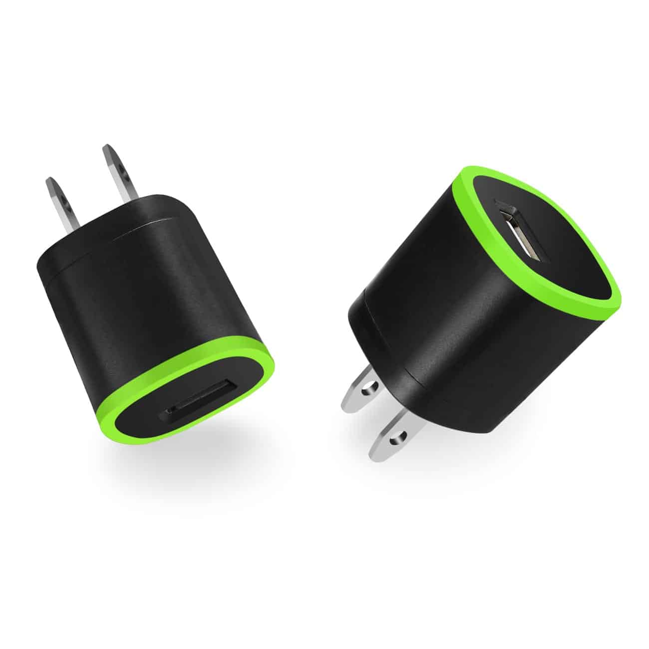 1 AMP DUAL COLOR PORTABLE USB TRAVEL ADAPTER CHARGER IN GREEN BLACK