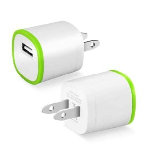 1 AMP DUAL COLOR PORTABLE USB TRAVEL ADAPTER CHARGER IN GREEN WHITE