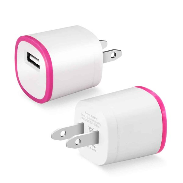 1 AMP DUAL COLOR PORTABLE USB TRAVEL ADAPTER CHARGER IN HOT PINK WHITE